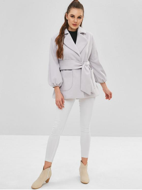women Belted Lapel Wool Blend Coat - GRAY CLOUD M