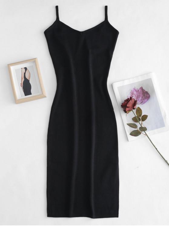 محبوك كامي اللباس Bodycon - أسود حجم واحد