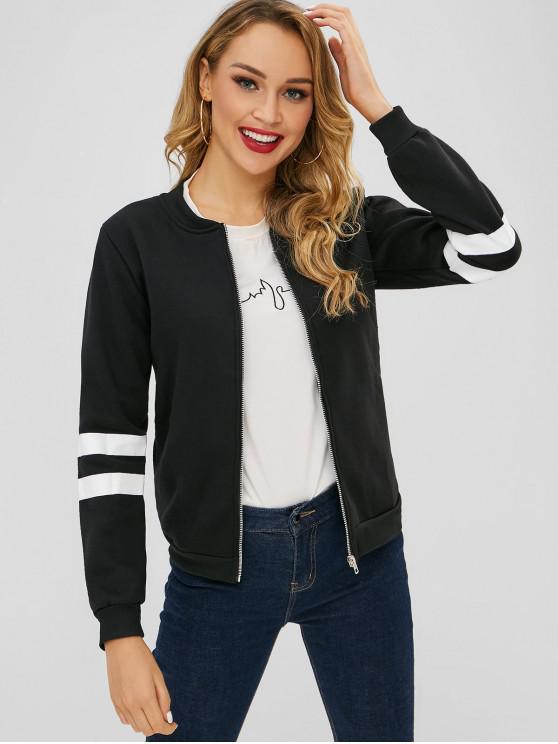 Zip Up chaqueta de mangas de rayas - Negro M