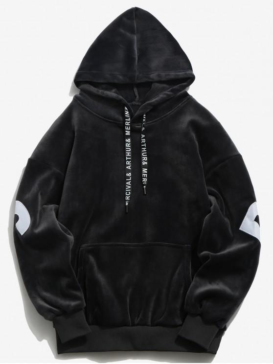 women Sleeve Letter Pocket Velvet Hoodie - CARBON GRAY XL