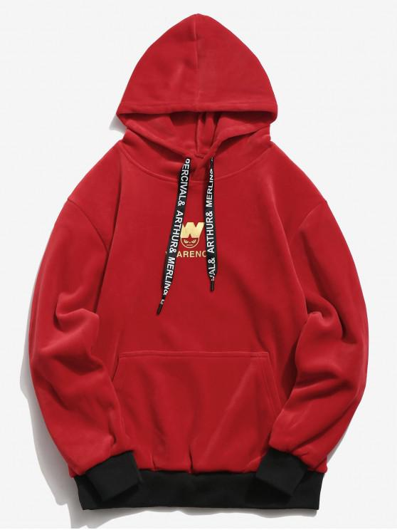 affordable Chest Letter Graphic Velvet Hoodie - RED 3XL