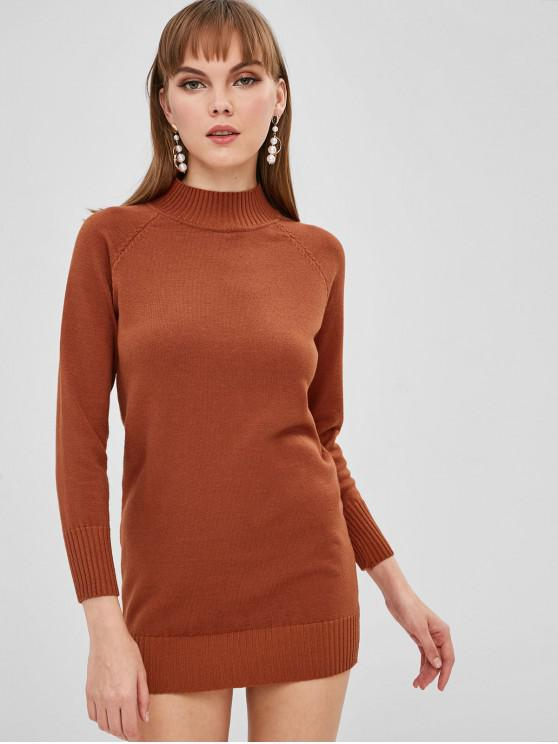 Mini Robe Pull à Manches Raglan - Châtaigne Rouge