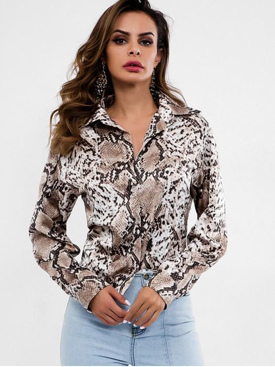 best Button Up Snakeskin Print Blouse - MULTI S