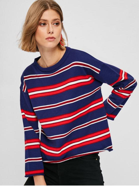trendy Striped Knit Rolled Hem Sweater - MULTI-A ONE SIZE