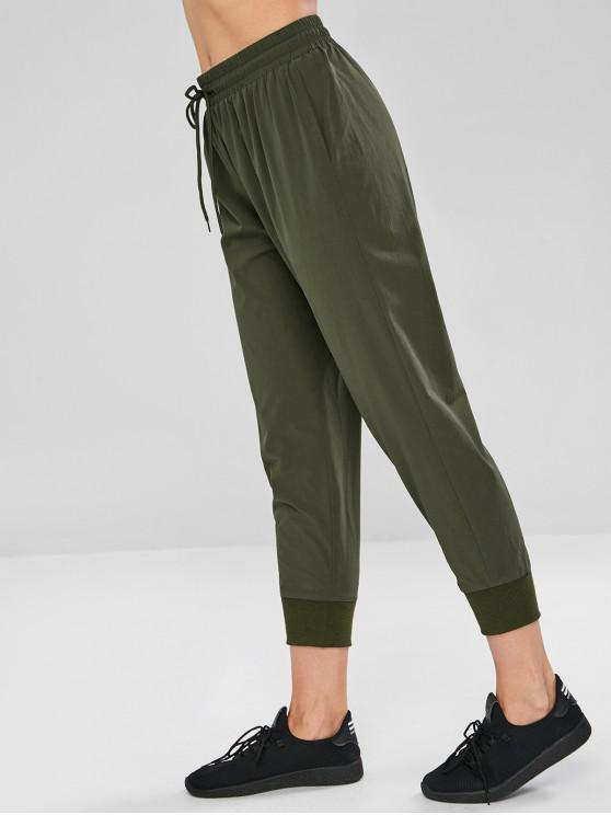 chic ZAFUL Drawstring Pocket Sport Pants - ARMY GREEN S