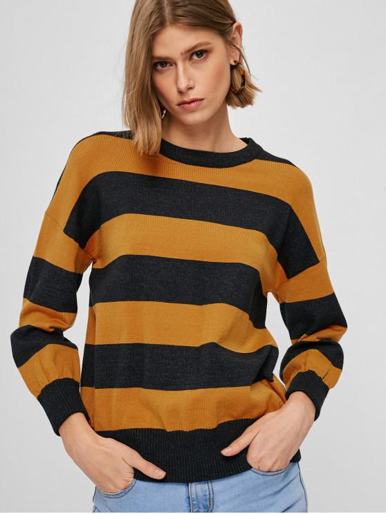 6cff4e8ae6b 28% OFF  2019 Relaxed Two Tone Striped Sweater In MULTI