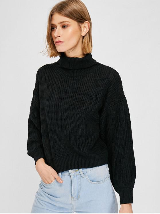 women's Knit Drop Shoulder Turtleneck Sweater - BLACK ONE SIZE
