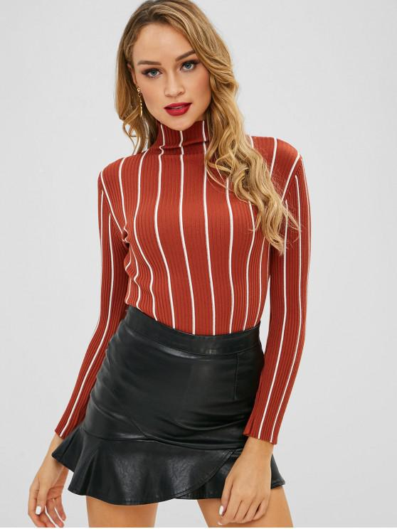 unique Slim Ribbed Striped Knit Sweater - MULTI-A ONE SIZE