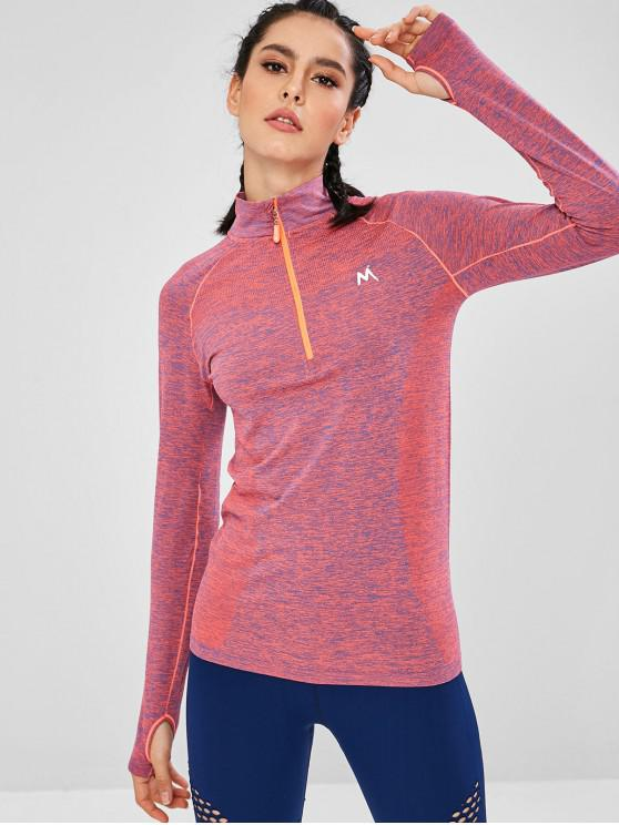 womens Quarter Zip Space Dye Sports Top - MULTI L