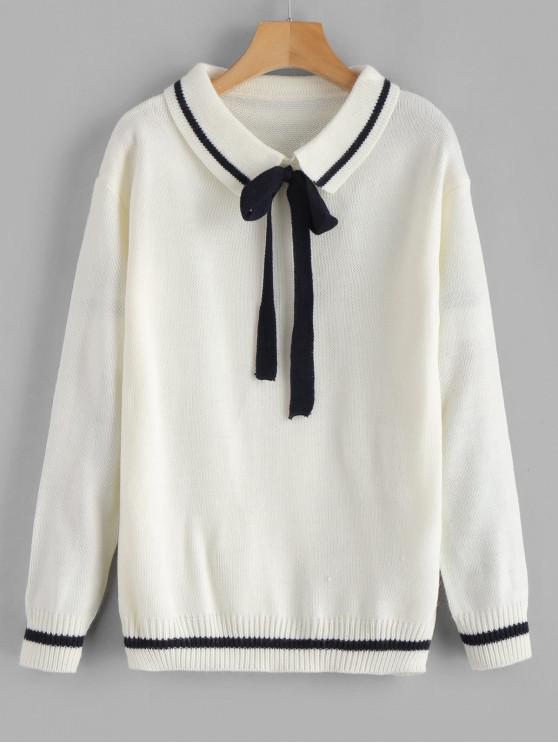 Pull Rayé Noué avec Nœud Papillon - Blanc Taille Unique