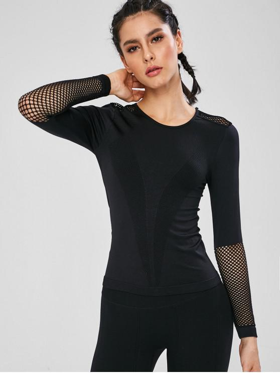 fancy Mesh Panel Long Sleeve Seamless Sports Top - BLACK M