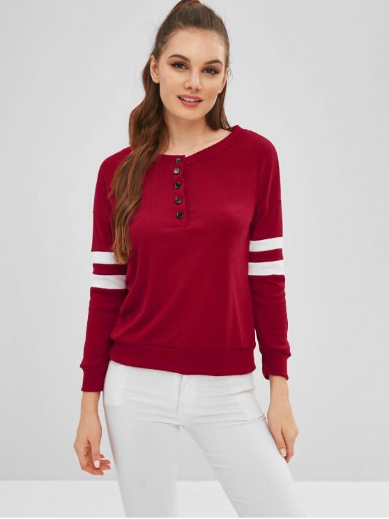 Sweat-shirt Rayé à Demi-bouton - Rouge Cerise XL
