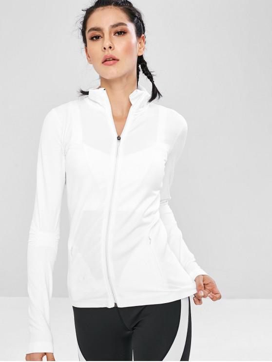 Veste de Course de Sport Sans Courture Zippée avec Poches - Blanc L