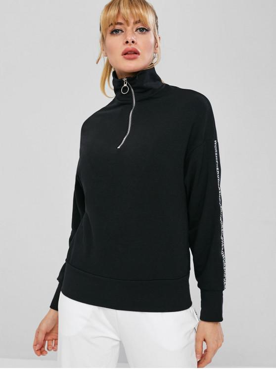 sale Zipped Graphic Sleeve Pullover Sweatshirt - BLACK M