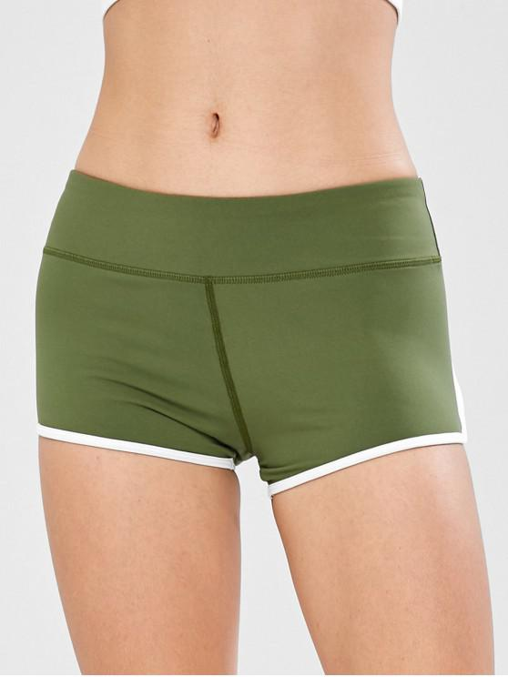 sale Active Contrast Trim Gym Shorts - JUNGLE GREEN L