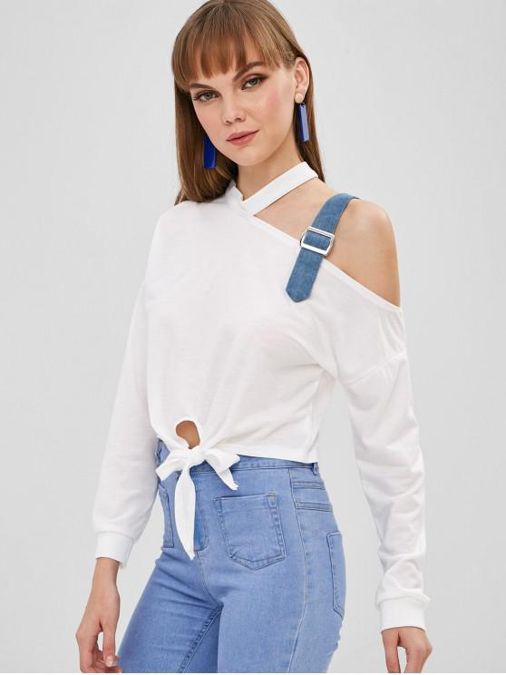 outfits One Shoulder Buckled Strap Sweatshirt - WHITE S