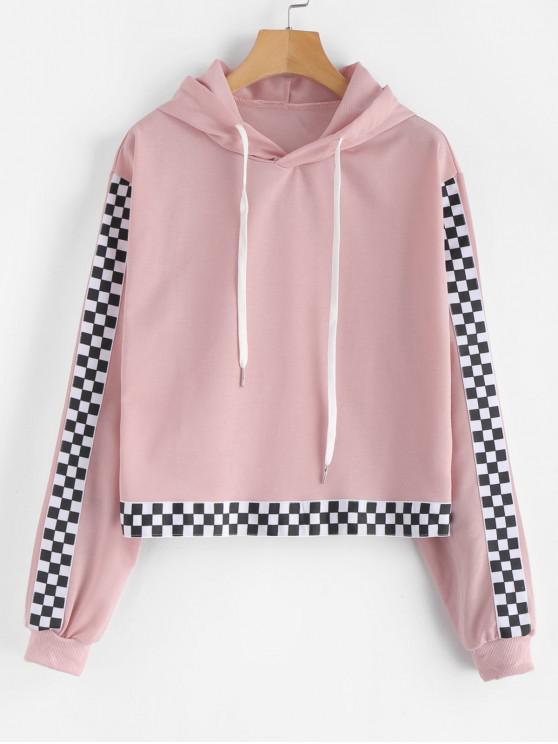 ladies Drawstring Checkered Hoodie - LIGHT PINK L