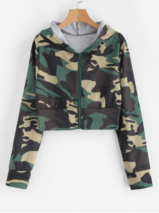 sale Camouflage Zip Up Cropped Hoodie - CAMOUFLAGE GREEN XL