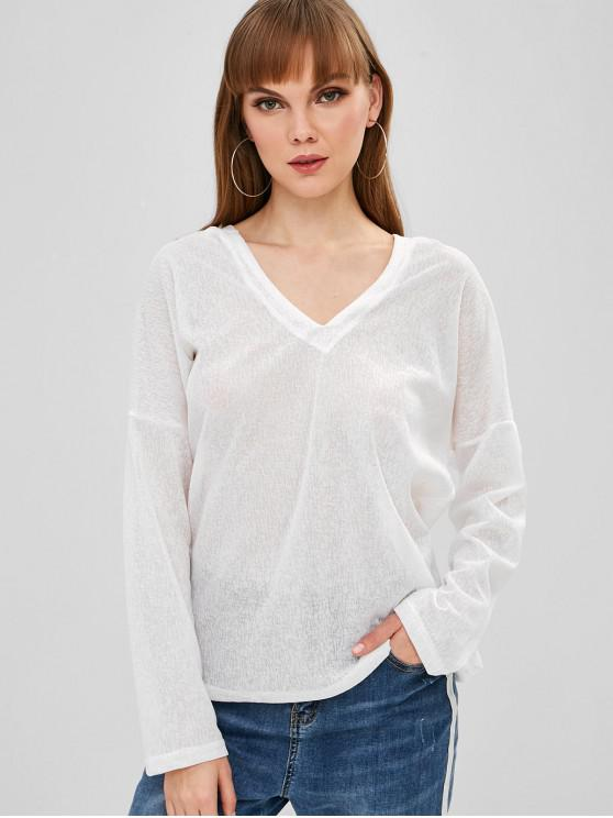 latest Hooded Long Sleeve Stars Top - WHITE L