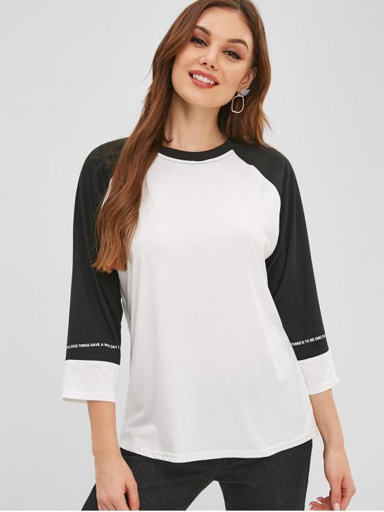 T-shirt de Base-ball Lettre Graphique - Blanc L