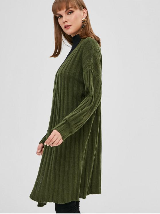 outfits Plain Drop Shoulder Open Cardigan - MEDIUM SPRING GREEN ONE SIZE