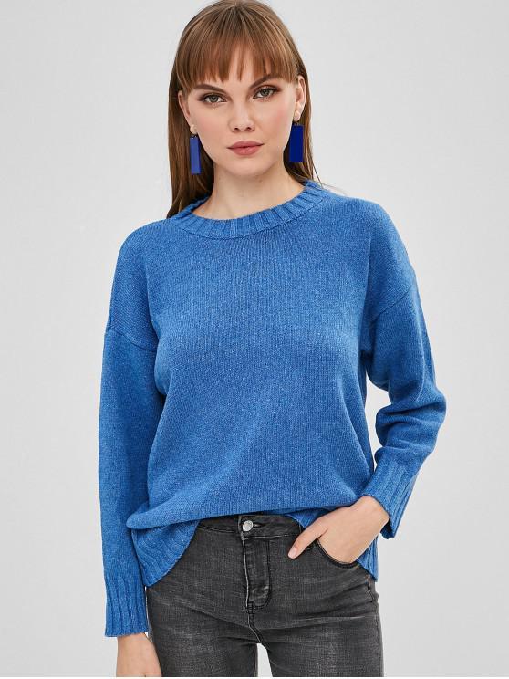 Pull Lâche Simple à Goutte Epaule - Bleu Bleuet Taille Unique