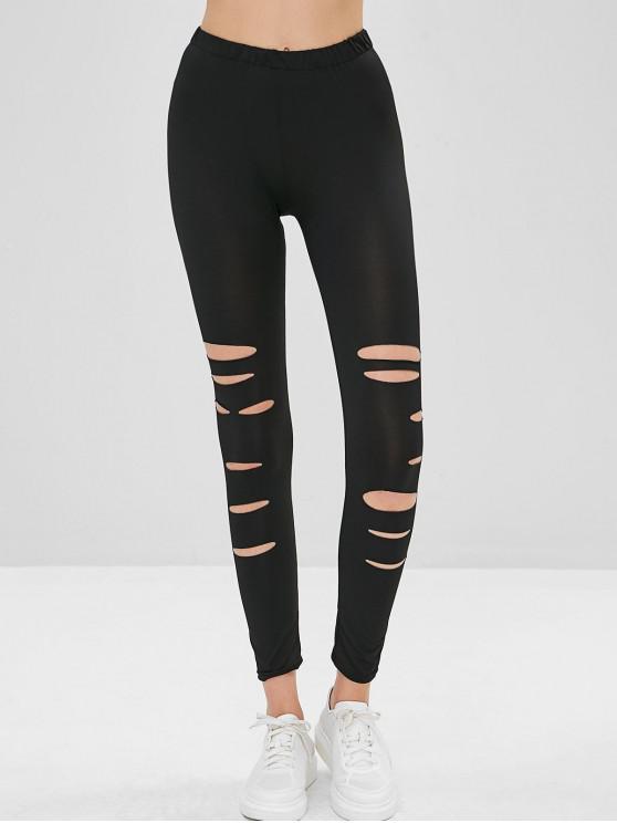 latest Ripped Skinny Leggings - BLACK XL