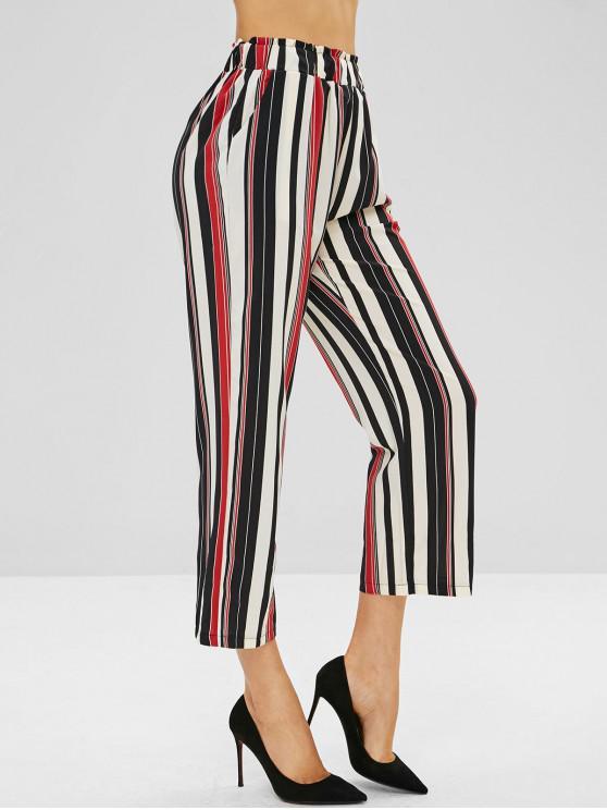 Pantalon Rayé à Jambe Large avec Poche - Multi-A L