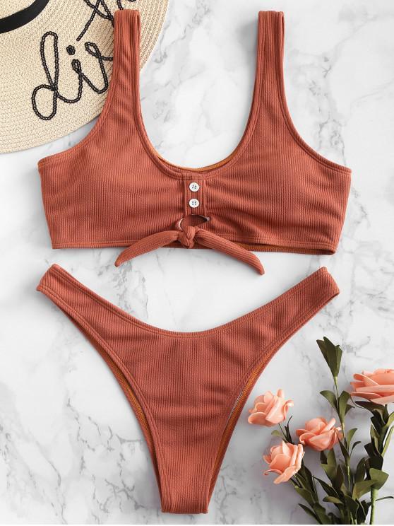 ZAFUL Bikini acanalado adornado de ojo de cerradura de  botón - Rosa Naranja S