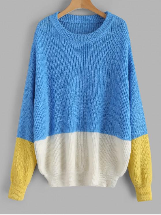 sale ZAFUL Pullover Loose Color Block Sweater - MULTI-B ONE SIZE