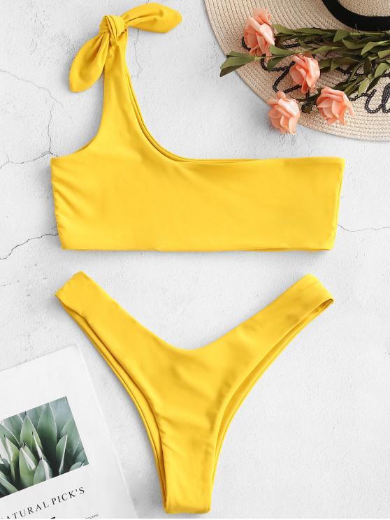 ZAFUL Bikini Bralette de un Hombro - Marrón Dorado M