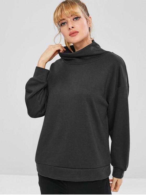 fashion High Collar Terry Oversized Sweatshirt - BLACK L