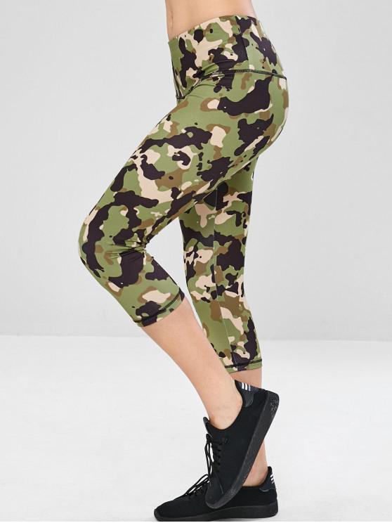 latest Camo Wide Waistband Gym Capri Leggings - ACU CAMOUFLAGE L