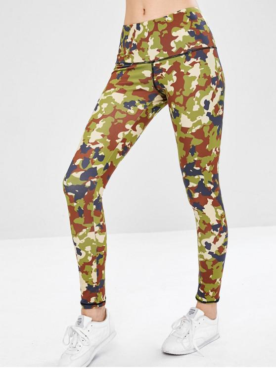 sale Wide Waistband Camo Yoga Gym Leggings - ACU CAMOUFLAGE L