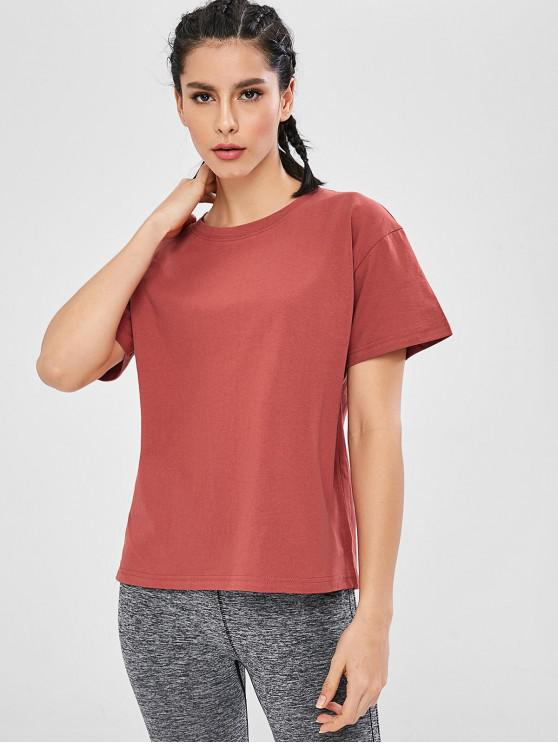 fancy Short Sleeve Loose T-shirt - RED L