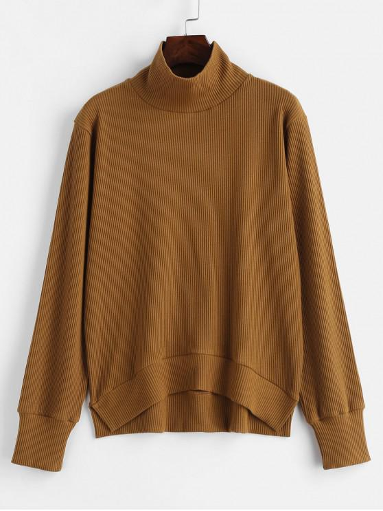 affordable Funnel Ribbed Sweater - LIGHT BROWN M