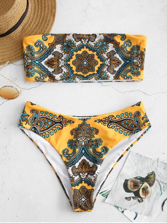 Bikini de Bandeau con Estampado Retro ZAFUL - Amarilla de Abeja  L