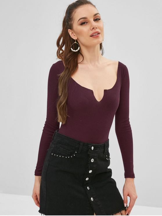 outfit Notched Collar High Cut Bodysuit - DULL PURPLE L