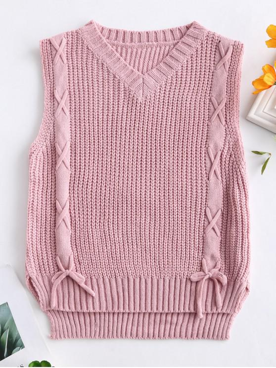 56 Off 2019 Lace Up High Low Sweater Vest In Pink Rose Zaful