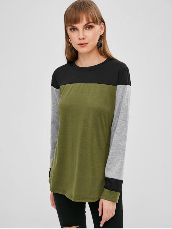 T-shirt en Blocs de Couleurs à Manches Longues - Multi-A L