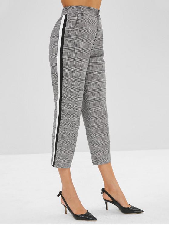sale Side Striped Patch Plaid Pants - GRAY CLOUD XL