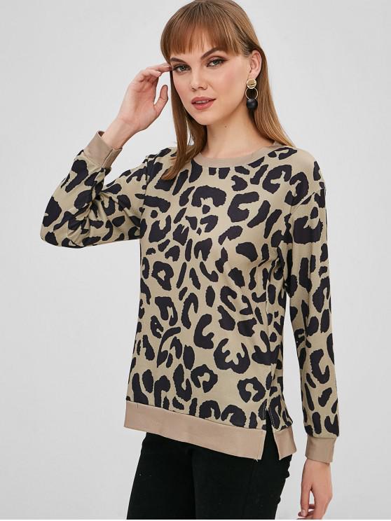women's Camo Drop Shoulder Slit Sweatshirt - MULTI-A S
