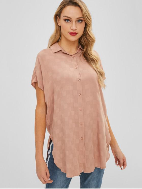 قميص طويل من النوع Slit - أسمر S