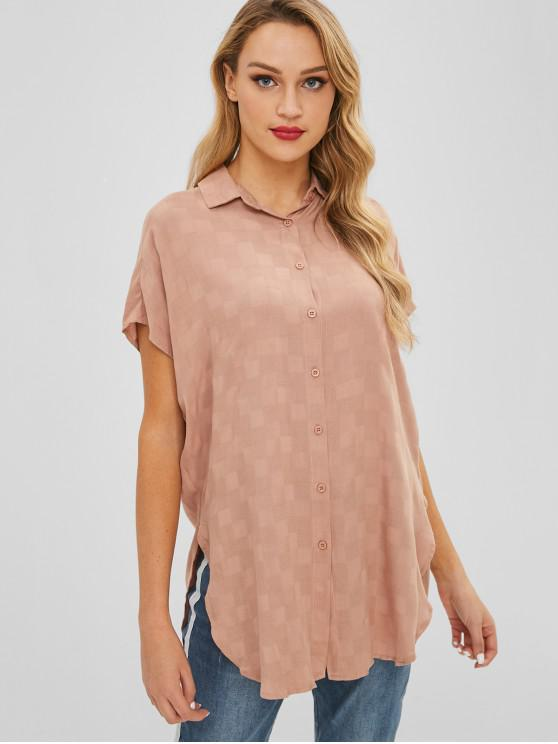 outfits Slit Longline Shirt - TAN S