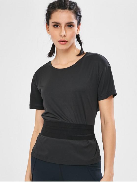 fancy Short Sleeve Wrap Tie Waist Gym T-Shirt - BLACK S