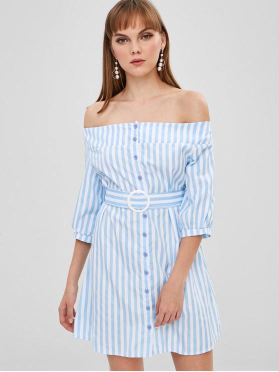 Robe Boutonnée Rayée à Epaule Dénudée - Bleu de Ciel  L