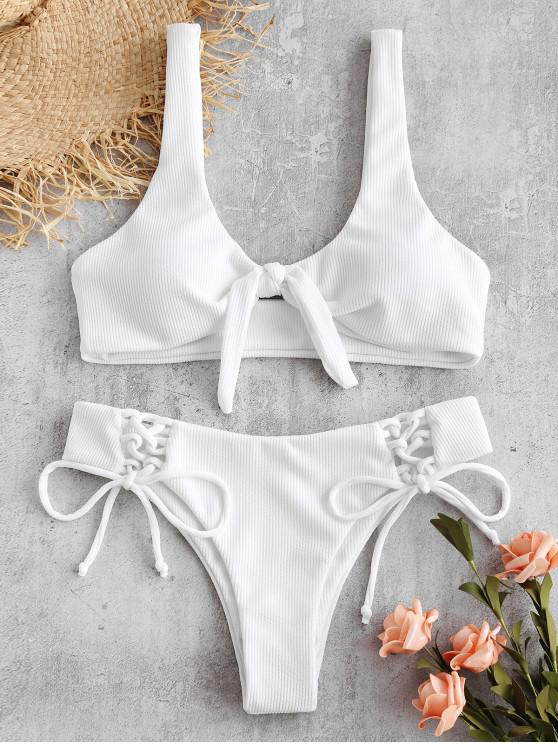 ladies ZAFUL Ribbed Lace Up Tied Bikini Set - WHITE M