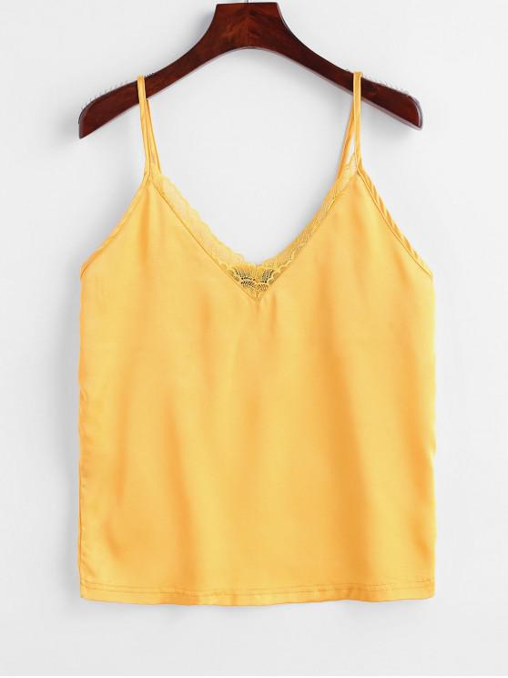 trendy ZAFUL Satin Lace Panel Cami Top - MUSTARD M