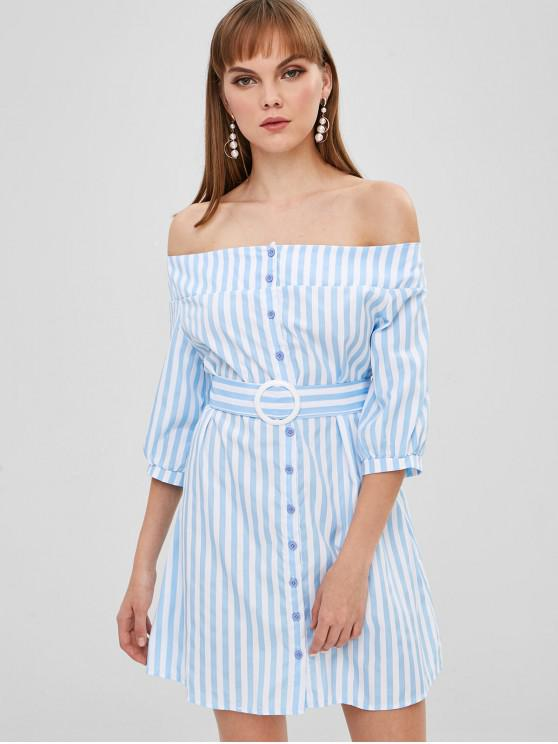 women's Button Up Stripes Off Shoulder Dress - DAY SKY BLUE M
