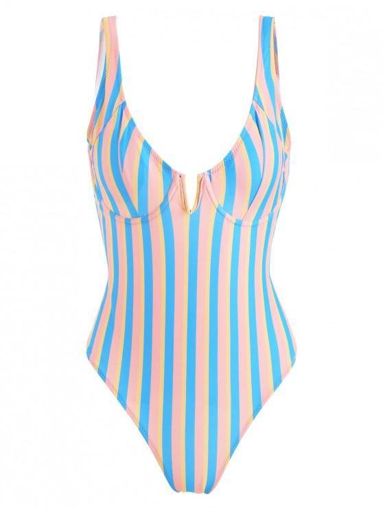 women ZAFUL Colorful Stripe Underwire One Piece Swimsuit - MULTI S